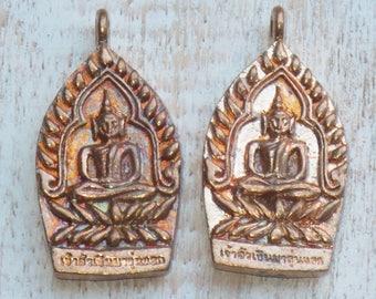 Copper Brass Sitting Buddha Charm, Buddha Pendant, Sitting Buddha Pendant