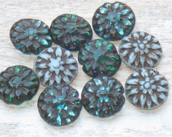 14mm Czech Glass Dahlia Beads Green Aqua and Silky Blue (6pcs) - Czech Glass Beads-Flower Beads