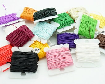 1MM x 0.5MM Flat Waxed Polyester Braided Cord Macrame Beading Jewelry Making Shoe Leather Craft String - 10yards/Card