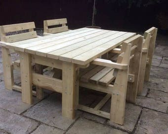 Garden Picnic Table / Chair and Bench Set (Various Sizes Available)