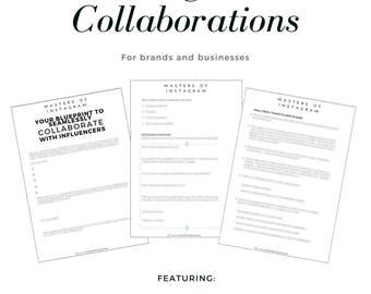 Templates and Workbooks: Instagram Collaborations Bundle (For Brands & Businesses), Marketing, Branding, Theme, Travel Blogger