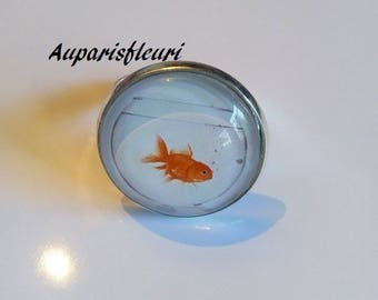 silver plated Adjustable ring * goldfish *.