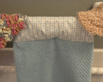 Kitchen Towel / Hanging Kitchen Towel Set with Crochet Wash Cloth and Scrubby /  Light blue Kitchen Towel / Hanging Towels