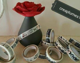 Wholesale lot of 50 m tape mixed patterns, Paris, knots... white. 15mm