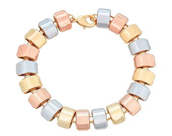 14K Gold Filled Bracelet Arrayed with 3 Tri Tone Half Circles