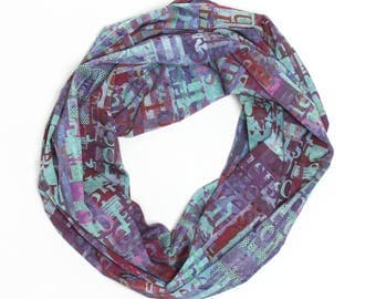Infinity Scarf, Necklace Style scarf, Midsummer Night, Digitally printed fabric