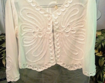 Full Embroidered Silk Cream-Color Formal Waist-Length Vest (Long-Sleeve)
