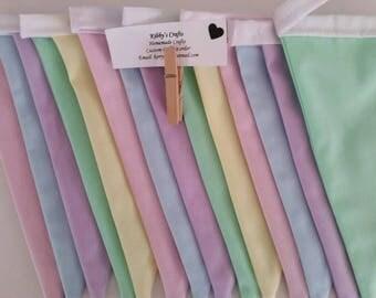 Fabric bunting flags pastel plain