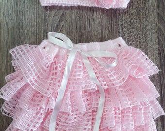 FREE SHIPPING -Frilly Baby Skirt + Headband set, Handmade Baby Skirt & Headband