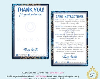 Monat Thank you cards, Monat Care Instruction, Monat Care Cards, Fast Free Personalization, Custom Monat Hair Care Card, Printable file MN24
