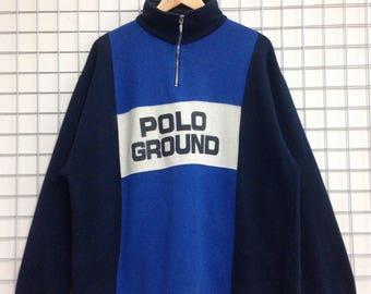 Vintage Polo Ground Sweatshirts Big Logo Half Zipper
