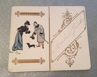 très joli menu ancien 1899 illustré / Caran d'Ache pour Mr Guichon ( teckel ), very nice old menu 1899 illustrated (dachshund),