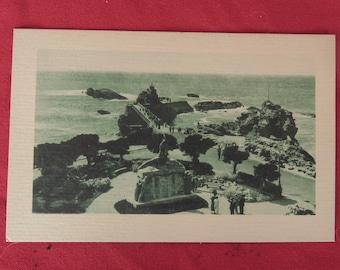 ancienne carte postale de Biarritz, vue du Rocher de la vierge, Pays Basque, old postcard of Biarritz, view of the Rocher de la vierge