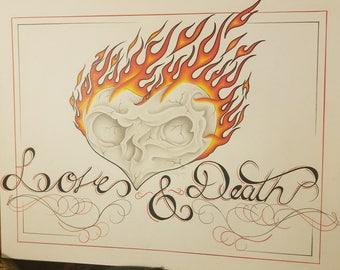 ORIGINAL Colored Pencil Drawing - LOVE & DEATH - prison art