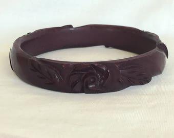 Plastic Bangle Bracelets, Vintage, Purple, Eggplant, Carved, Flowers, Faux Bakelite, Fakelite, Bangles