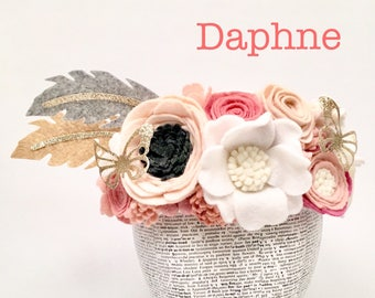Daphne Feather Floral Crown l Flower Birthday Headband l Pink Pastel l Gold Glitter Butterfly l Child l Adult l Toddler l Custom Design