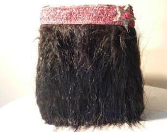 Fashion evening bag black fur