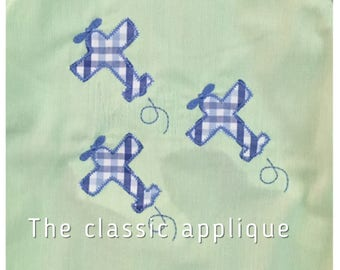 flying airplane trio zigzag stitch applique vintage style design file for embroidery