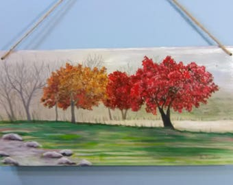 Fall Trees - Painting on wood/misty atmosphere/stones/pathway/wall decor/greens/reds