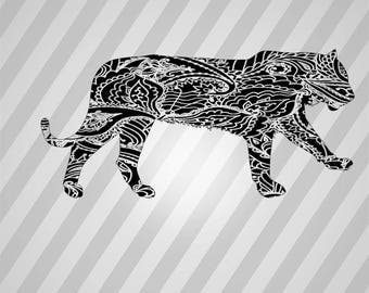 Tiger Henna Silhouette - Svg Dxf Eps Silhouette Rld RDWorks Pdf Png AI Files Digital Cut Vector File Svg File Cricut Laser Cut
