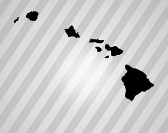hawaiian islands map Silhouette - Svg Dxf Eps Silhouette Rld RDWorks Pdf Png AI Files Digital Cut Vector File Svg File Cricut Laser Cut