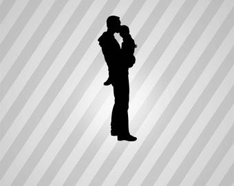 father and daughter Silhouette - Svg Dxf Eps Silhouette Rld RDWorks Pdf Png AI Files Digital Cut Vector File Svg File Cricut Laser Cut