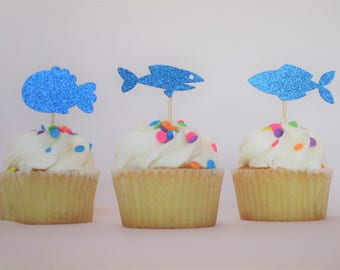 12 Count Glitter Fish Cupcake Toppers –Birthday Toppers – Decoration Toppers – Dessert Toppers – Glitter Toppers
