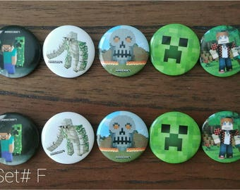 """10pc. Minecraft 1"""" Favor Pins Set#F ~ Party Birthday Favors Supplies"""