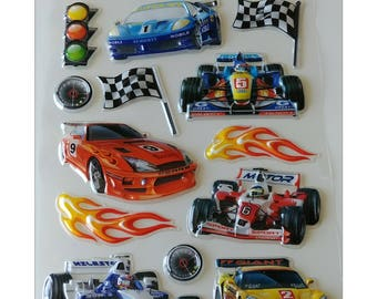 Ultra-3D POP Car Racing Racer Stickers Autocollants ~ 1 Sheet with 15 Stickers