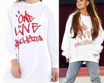 Ariana Grande White Oversized One Love Manchester Jumper