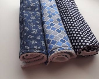 100% cotton Burp Cloths.  Terry cloth. Navy bule and white.