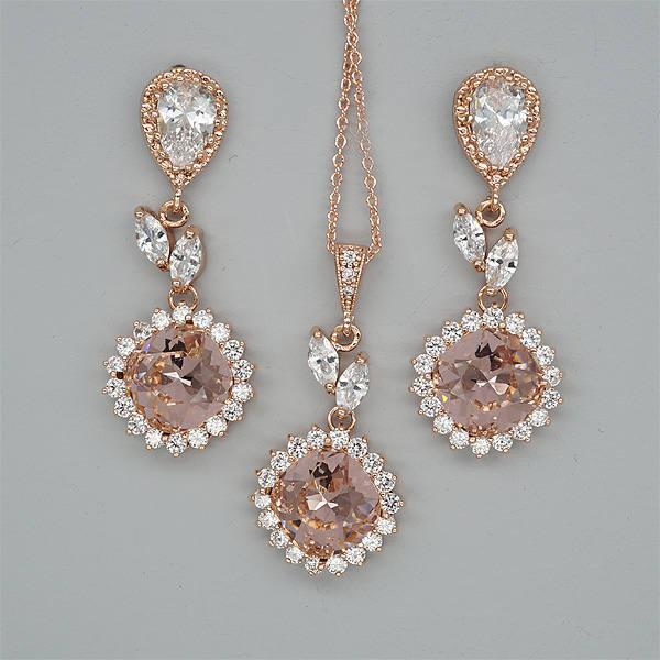 Blush bridesmaid jewelry set blush pink wedding necklace and for Pink wedding jewelry sets
