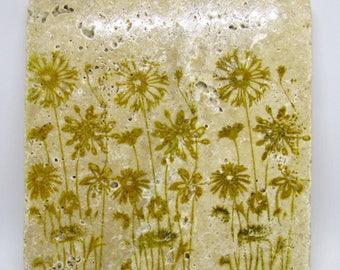 Tile Trivet - Table Trivet - Floral Trivet - Trivet - Hot Pad - Rustic Trivet - Stone Trivet - Hand Stamped Trivet