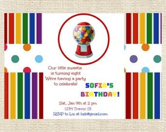 Gumball Machine Birthday Party Invitation / Gumball Invitation / Candy Party Invitation / Rainbow Party Invitation / Rainbow / Candy Invite