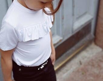 White T-Shirt with ruffle