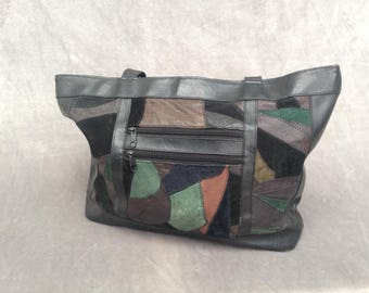 Vintage 1980s Black leather with coloured suede shoulder bag