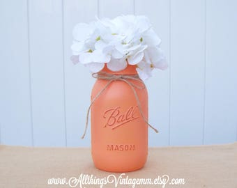 Creamsicle peachy-orange painted Mason jar,Mason jar decor,Mason jar centerpiece,farmhouse,wedding decor,rustic home decor,table decor