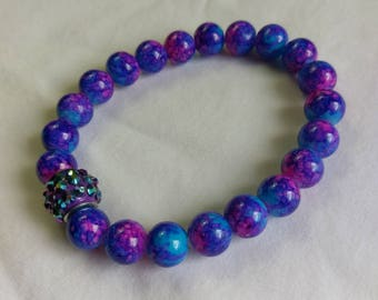 Purple, Blue, & Pink Ceramic Beads Stretch Bracelet