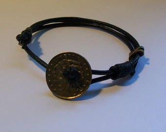 Leather bracelet for men Indian Chief head pieces