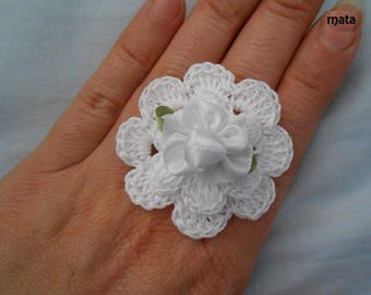 white crochet flower ring