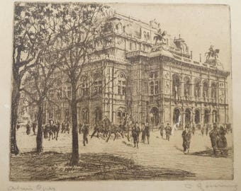 VIENNA OPERA HOUSE 1900 s Etching Ofort Engraving pencil Signed