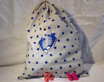 Women shoes, blue basquette bag