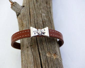 Natural leather strap from metal
