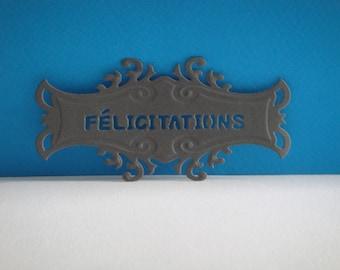"Gray tag with ""Congratulations"" Custom cut"