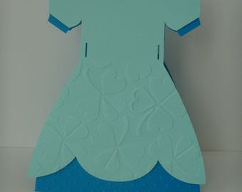 Card light blue and dark blue princess dress embossed with clover leaves and dots