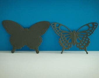 Cut set of 2 gray Butterfly 7 cm tall