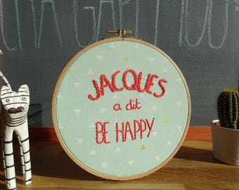 Original decorative embroidery on embroidery hoop