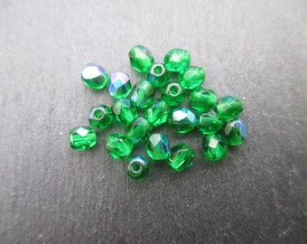 Faceted 4mm: 20 beads green Bohemian