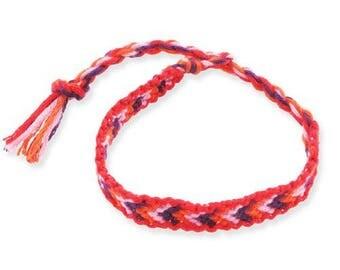 1 V friendship bracelet black red and pink