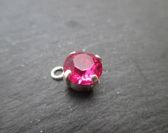 "Pendant with cabochon ""fuchsia"" Swarovski 8 mm"